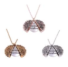 2019 mulheres colar personalizado você é meu sol aberto medalhão liga personalizado aberto medalhão girassol pingente colar feminino presente(China)
