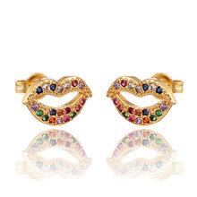 INS Arcobaleno zircone Orecchini con perno monili per le Donne oro cz Orecchini di amore della stella sorriso del cerchio del fiore Degli Orecchini migliore regalo(China)