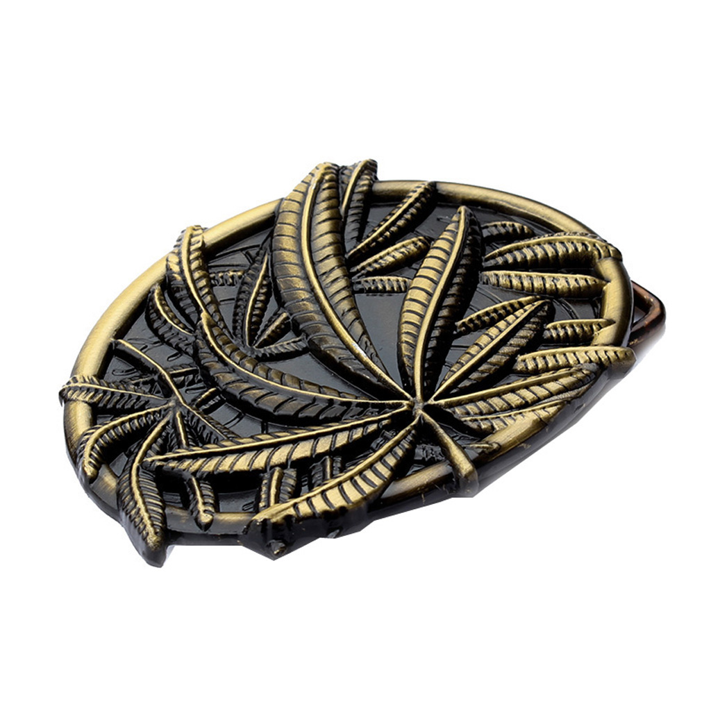 Belt Buckle for Women Men with Exquisite Embossed Bronze Fall Leaf Pattern