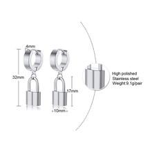 Gembok Anting-Anting Stainless Steel Logam Huggie Dropearring Unisex Perhiasan(China)
