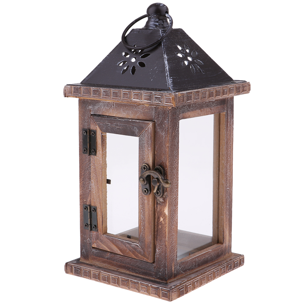 Rustic Wooden Decorative Candle Lantern Vintage  Hanging Candle Holder for Indoor Outdoor