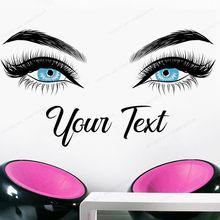 ריסים קיר מדבקות צבע עיני קיר תפאורה יופי סלון קיר ויניל מדבקה מותאם אישית טקסט איפור אמנות קיר HJ574(China)