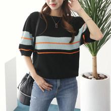 Neploe arco-íris listrado camisola feminina primavera 2020 coreano o pescoço puff manga feminina pulôver tops casua estiramento senhoras jumper(China)