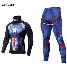 Męskie dresy Fitness strój sportowy ubrania termiczne 3D drukowane Rashgard Superhero Spiderman wysoki kołnierz klapy przylegający zestaw(China)