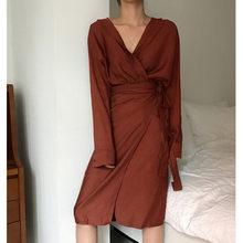 [EAM] 2020 חדש אביב סתיו V-צוואר ארוך שרוול מותניים תחבושת רופף גדול גודל שמלת טמפרמנט נשים אופנה גאות JU356(China)