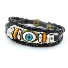 Nouveau Style Punk Bracelet pour hommes rétro yeux bleus Bracelets pour hommes et femmes en cuir multicouche fait à la main Bracelet cadeaux(China)
