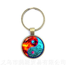 O Fogo E Gelo Vidro Chaveiro Símbolo Yin Yang Pingente Jóia Natural Rústico Estilo Boho Simbolizando A Harmonia Trazer Boa Sorte(China)