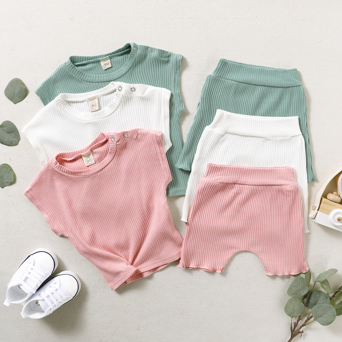 Ribbed Shorts Pants 2PCS Toddler Summer Clothes Set Infant Girl Knitted Outfits Solid Sleeveless Ruffle Crop Top