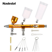 Airbrush Dual Action Gravity Feed 0.3mm Nozzle Spuitpistool Rood/Goud Cake Decorating Borstels Voor Nail Manicure Met wrench Stro(China)
