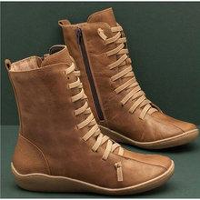 Phụ Nữ Mới Thu Vintage Mắt Cá Chân Giày Dây Kéo Phối Ren Nữ Retro Da PU Giày Người Phụ Nữ Cao Cấp TOP Giày Nữ nữ Giày(China)