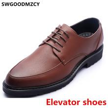 Коричневые модельные туфли; Мужская классическая официальная обувь; Мужская обувь из натуральной кожи; Итальянская Брендовая обувь, увелич...(China)