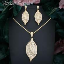 ModemAngel Luxus Blatt Blume Wasser Tropfen Frauen Hochzeit Zirkonia Halsreif Halskette Ohrring Dubai Schmuck-Set Schmuck Sets(China)