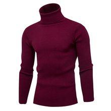 Heflashor 2019 고품질 웜 터틀넥 스웨터 남성 솔리드 니트 남성 스웨터 캐주얼 슬림 풀오버 남성 더블 칼라 탑스(China)