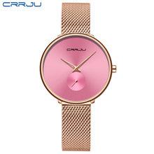 Novo crrju 2165 mulheres relógios moda elegante feminino vestido pulseira simples aço completo quartzo senhoras relógio feminino relogio feminino(China)
