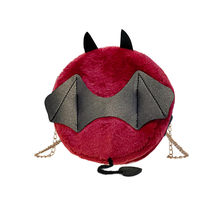 Женская плюшевая маленькая круглая сумка в виде монстра и летучей мыши, сумка в виде дьявола на Хэллоуин, милые Мультяшные женские сумки на ...(China)