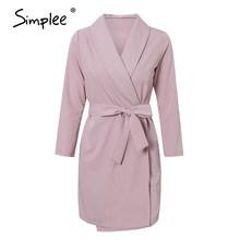 Simplee אלגנטי v-צוואר משרד שמלה בתוספת גודל מוצק אבנט גבוהה מותן ארוך שרוול בלייזר שמלה מזדמן אביב שיק bodycon שמלה(China)