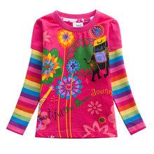 Meisjes T-shirt Kinderen T-shirt Baby Tees Katoen Bloem Tops Kleding Gestreepte Katten Winter Kinderen Meisjes Tees Lange Mouw g610(China)