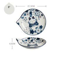 Japanese Style Ceramic Teardrop Plates Dishes Sets Fruit Tableware Creative Design Cute Cartoon Lucky Cat Pattern(China)