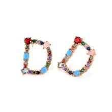 2pcs CZ orecchino della vite prigioniera oro arcobaleno lettera del cuore orecchini per le donne Coreano orecchini di zirconia di cristallo di fascino dei monili del regalo(China)