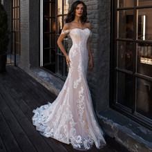 Sexy de hombro sirena Vestido de Novia blanco apliques para Vestido de Novia vestidos sin mangas para boda Novia Vestido de Novia(China)