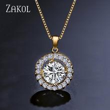 ZAKOL אופנה לבן צבע מיקרו עגול AAA + מעוקב Zirconia לב תליון שרשרת לנשים קריסטל חתונה תכשיטי FSNP001(China)