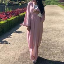 Abaya Kimono Kaftan szata dubaj Islam muzułmański hidżab sukienka Kaftan Marocain Ramadan Elbise katar zea Oman turecki islamska odzież(China)