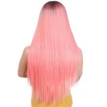 Ombre Yeşil Düz Uzun Sentetik Peruk Kadınlar Için Siyah Pembe Peruk 24 inç 9 Renk Cosplay Peruk I bir peruk(China)