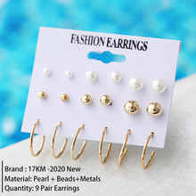 17KM חדש Femme ציצית פרל תכשיטי סט לנשים 2020 להתנדנד עגילי אופנה שרשראות בציר זהב תכשיטי חתונת מתנות(China)