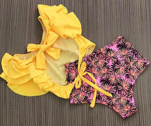 Fleuri à volants ourlet ensemble de Bikini femmes flore col en v taille haute deux pièces maillot de bain 2018 fille plage maillot de bain maillots de bain Biquinis(China)