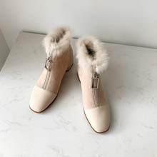 ALLBITEFO hakiki deri + akın sıcak kısa peluş kadın botları moda kızlar marka saf renk yarım çizmeler sonbahar kış çizmeler(China)