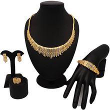 NEU kommen gold schmuck sets frauen mode schmuck sets edlen schmuck sets frauen hochzeit braut große halskette(China)