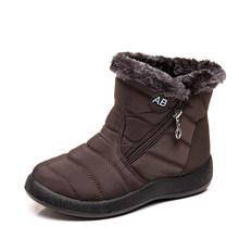 Plus größe 35-43 2019 winter neue schnee stiefel weibliche rohr dicke plüsch wasserdichte baumwolle stiefel seite zipper frauen stiefel(China)