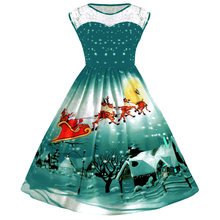 Wipalo Hepburn Vintage Serie Vrouwen Lente En Zomer Kerst Printing Lace-Stiksels Ontwerp Ronde Hals Mouwloze Jurk(China)