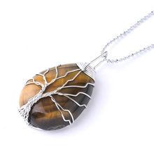 SEDmart 7Chakra Ainbow kamień naturalny drut miedziany wisiorek naszyjnik dla kobiet mężczyzn długi łańcuch drzewo życia oświadczenie biżuteria prezent(China)