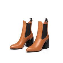 Fedonas Mới Chất Lượng Da Thật Chính Hãng Da Nữ Cổ Điển Giày Chelsea Boot Mùa Đông Nữ Mũi Nhọn Cổ Chân Giày Dạ Hội Đảng Giày Người Phụ Nữ(China)