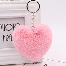 23 cores coração-em forma de chaveiro de pelúcia lã de imitação de pele de coelho fofo pom-pom senhoras mochila presente pingente 10 -14cm WJ239(China)