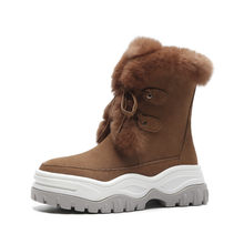 Meotina hiver vraie fourrure neige bottes femmes vache daim plate-forme bottines chaud laine bout rond chaussures dames 2019 gris taille 40(China)