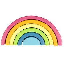 Juguetes para bebés, apilador de arcoíris grande, juguetes de madera para niños, bloques de construcción creativos de arcoíris, juguete educativo Montessori para niños(China)