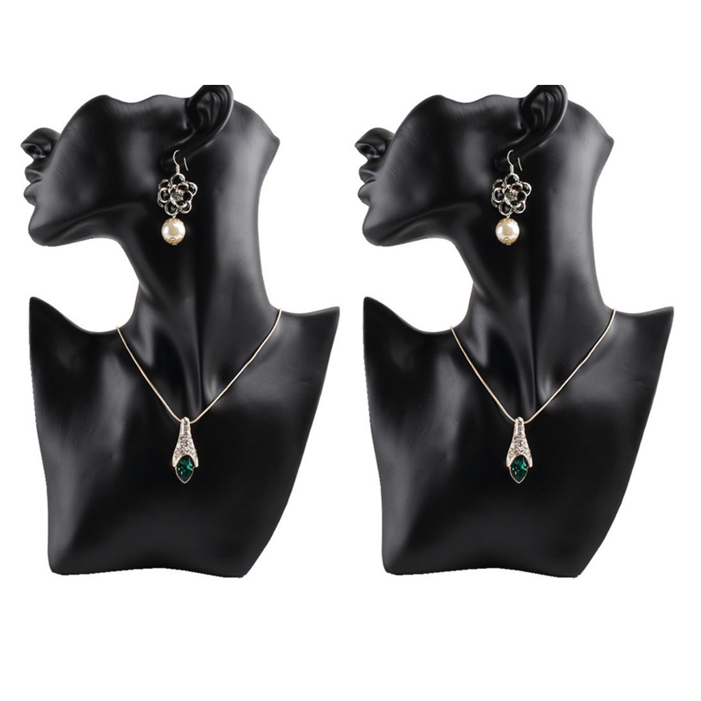 2 Pieces Resin Female Mannequin Head Bust Stand Model Shop Jewelry Necklace Holder