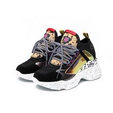 Moipheng 2019 yarım çizmeler ayakkabı kadın 35-42 platformu siyah çorap at kılı ayakkabı rahat nefes kadın tıknaz ayakkabı(China)