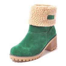 Winter Stiefeletten Frauen Platz Ferse Schnee Stiefel Damen Plüsch Warme Plattform Flock Schuhe Weibliche Slip-On Zapatos De mujer(China)