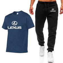 夏メンズ Tシャツシャツレクサス車のプリントヒップホップカジュアルコットン半袖高品質の tシャツパンツスーツ男性布(China)