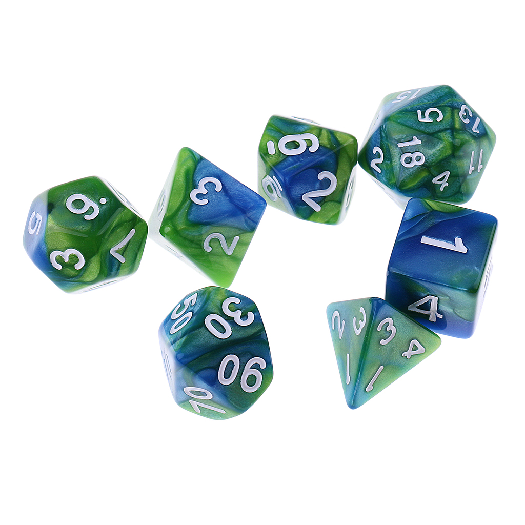 7 Pieces D4 D6 D8 D10 D12 D20 Dices Double-color Multi-Sided Dice Game Cube for Board Game Accessories