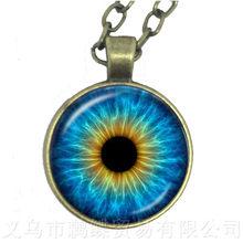 מקסים ירוק עיני עין רעה שרשרת יפה בעלי החיים הדרקון חתולי העין 25mm זכוכית קרושון סוודר שרשרת בשבילה(China)