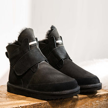 2019 kar botları kadın deri Shearling yün kürk kaplı kısa kışlık botlar kadın kar botları kış ayakkabı kadın(China)