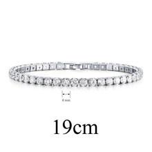 UMODE 2019 nowy 4mm 5mm 6mm okrągły kwadrat cyrkon kryształ bransoletka tenisowa dla kobiet mężczyzn białe złoto długie pudełko łańcuch biżuteria AUB0178AX(China)