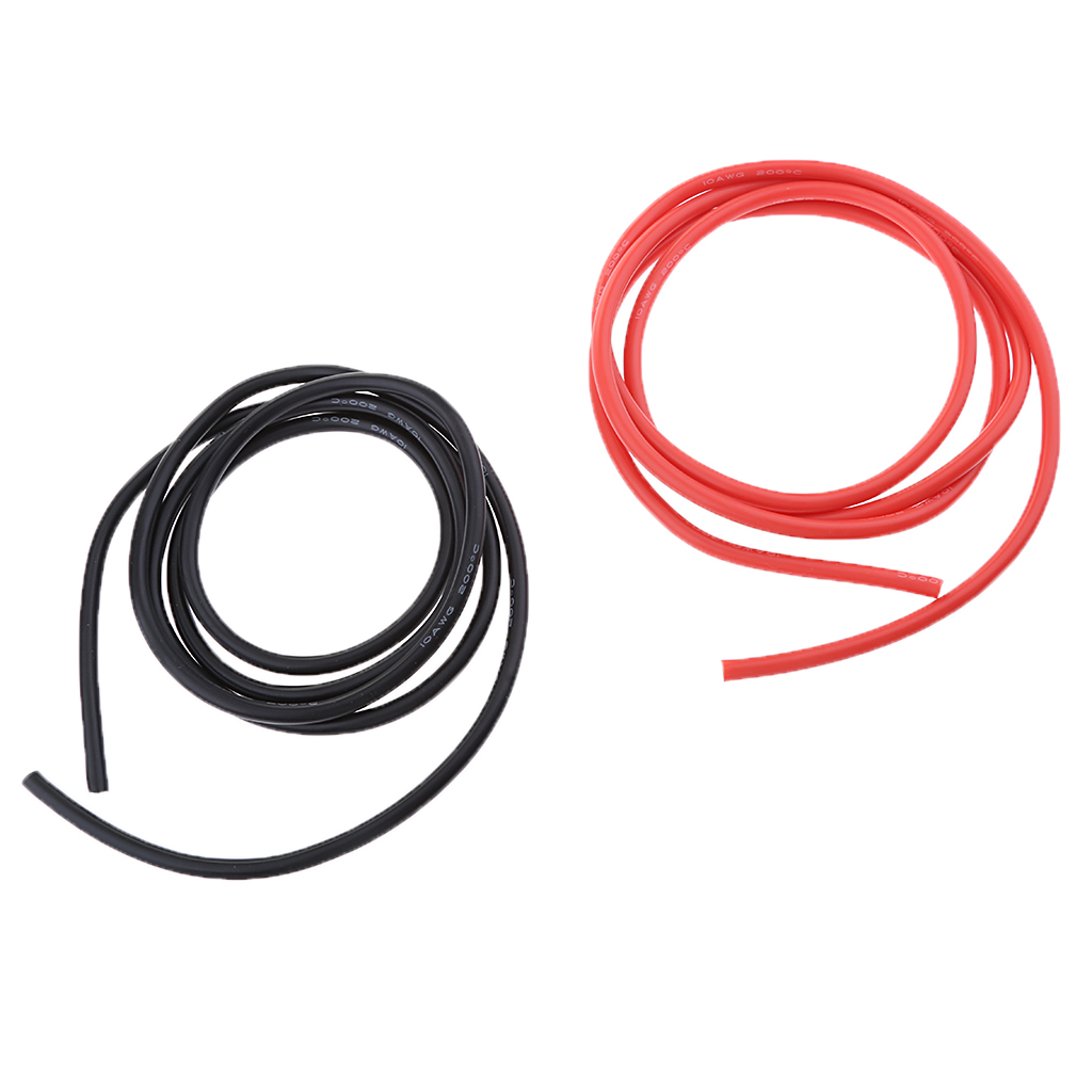 10 Feet 10AWG Black+Red RC Silicone Flexible Stranded Copper Wire Cables