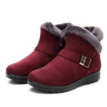 Kış Kadın yarım çizmeler Yeni Moda Akın Kama Platformu Kış sıcak Kırmızı Siyah Kar Botları Ayakkabı Kadın Artı Boyutu 40 41(China)