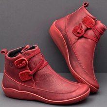 Yarım çizmeler kadın PU deri kış çapraz kayış Vintage peluş Punk sıcak kısa çizmeler düz bayanlar ayakkabı Botas Mujer(China)