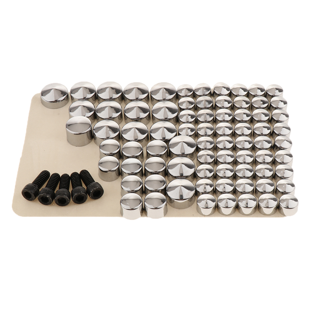 80-Pack Motorbike Chrome Bolt Toppers Cap Dress Kit For  FLT/FLH